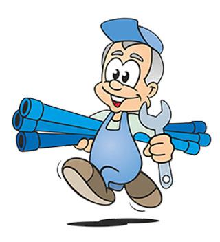 Avatar mit blauen Rohren - Rohrsanierung der Firma Rohrreinigung Schulte